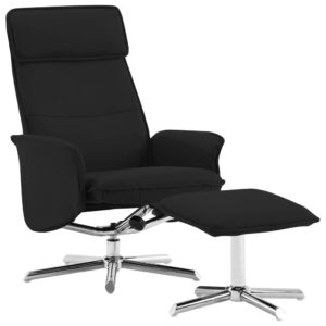 Cadeira reclinável c/ apoio de pés couro artificial preto - PORTES GRÁTIS