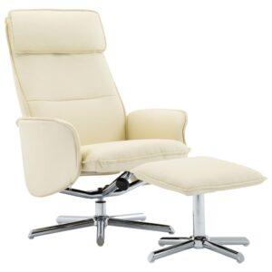 Cadeira reclinável c/ apoio de pés couro artificial creme - PORTES GRÁTIS