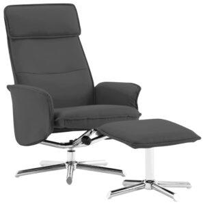 Cadeira reclinável c/ apoio de pés couro artificial antracite - PORTES GRÁTIS