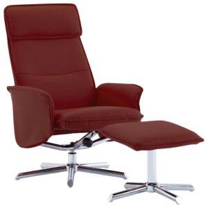 Cadeira reclinável c/ apoio pés couro artificial vermelho tinto - PORTES GRÁTIS