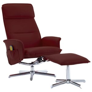 Poltrona massagens + apoio pés couro artificial vermelho tinto - PORTES GRÁTIS