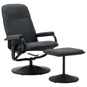 Poltrona massagens reclinável + apoio pés tecido cinza-escuro - PORTES GRÁTIS