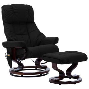 Cadeira reclinável massagens couro artif./madeira curva preto - PORTES GRÁTIS