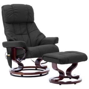 Poltrona reclin. massagens couro artif./madeira curva cinzento - PORTES GRÁTIS