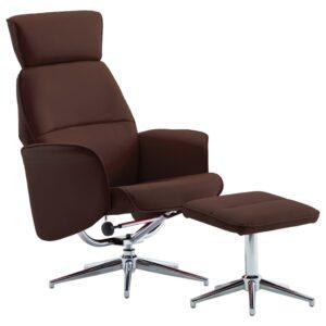 Cadeira reclinável c/ apoio de pés couro artificial castanho - PORTES GRÁTIS