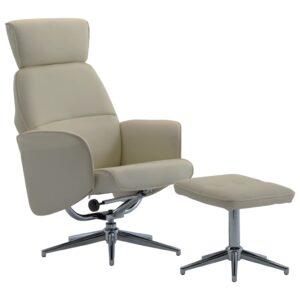 Cadeira reclinável com apoio de pés couro artificial cappuccino - PORTES GRÁTIS