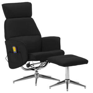 Cadeira massagens reclinável + apoio pés couro artificial preto - PORTES GRÁTIS