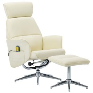 Poltrona massagens + apoio de pés couro artificial branco - PORTES GRÁTIS