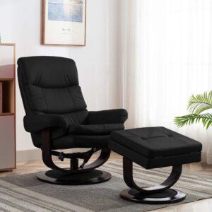 Poltrona reclinável couro artificial/madeira curvada preto - PORTES GRÁTIS