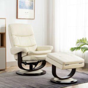 Poltrona reclinável couro artificial/madeira curvada branco - PORTES GRÁTIS