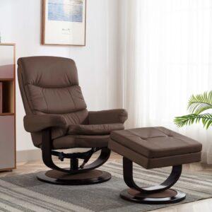 Poltrona reclinável couro artificial/madeira curvada castanho - PORTES GRÁTIS