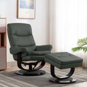 Poltrona reclinável couro artificial/madeira curvada antracite - PORTES GRÁTIS