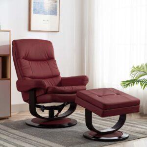 Poltrona reclinável couro artificial/madeira curvada vermelho - PORTES GRÁTIS