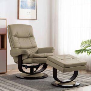 Poltrona reclinável couro artificial/madeira curvada cappuccino - PORTES GRÁTIS