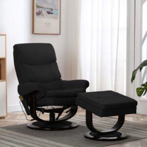 Poltrona reclinável massagens couro artif./madeira curva preto - PORTES GRÁTIS