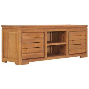 Móvel de TV 110x30x40 cm madeira de teca maciça - PORTES GRÁTIS