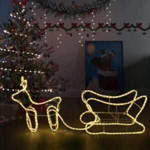 Decoração de Natal rena e trenó de exterior 252 luzes LED - PORTES GRÁTIS