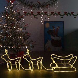 Decoração de Natal renas e trenó de exterior 576 luzes LED - PORTES GRÁTIS