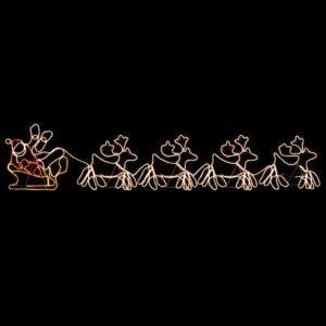 Iluminação Natal 4 renas XXL e trenó 1548 luzes LED 500x80 cm - PORTES GRÁTIS