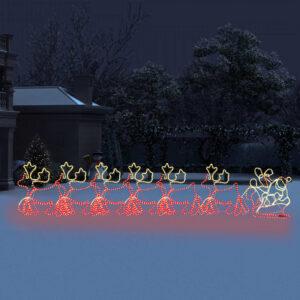 Iluminação Natal 6 renas/trenó XXL com rede 2160 luzes LED 7 m - PORTES GRÁTIS