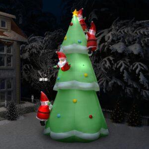 Árvore natal insuflável c/ Pai Natal LED IP44 500 cm XXL tecido - PORTES GRÁTIS