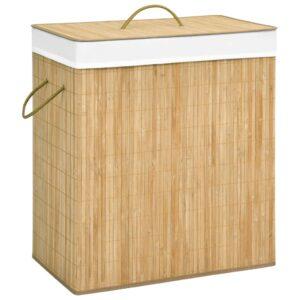 Cesto para roupa suja 100 L bambu - PORTES GRÁTIS