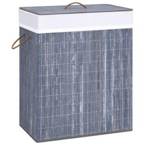 Cesto para roupa suja 100 L bambu cinzento - PORTES GRÁTIS