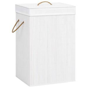 Cesto para roupa suja 72 L bambu branco - PORTES GRÁTIS