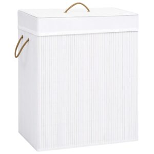 Cesto para roupa suja 100 L bambu branco - PORTES GRÁTIS