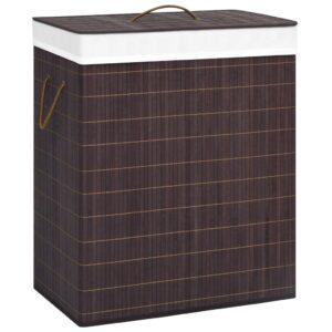 Cesto para roupa suja 100 L bambu castanho - PORTES GRÁTIS