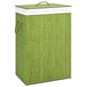 Cesto para roupa suja 72 L bambu verde - PORTES GRÁTIS
