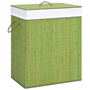 Cesto para roupa suja 100 L bambu verde - PORTES GRÁTIS