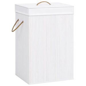 Cesto para roupa suja bambu branco - PORTES GRÁTIS