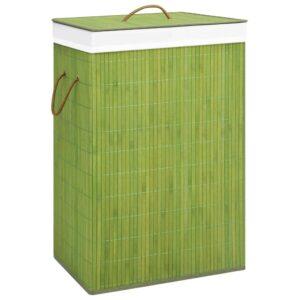 Cesto para roupa suja bambu verde - PORTES GRÁTIS
