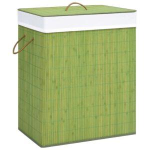 Cesto para roupa suja 83 L bambu verde - PORTES GRÁTIS