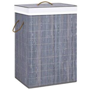 Cesto para roupa suja bambu cinzento - PORTES GRÁTIS