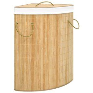 Cesto de canto para roupa suja 60 L bambu - PORTES GRÁTIS