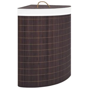 Cesto de canto para roupa suja 60 L bambu castanho - PORTES GRÁTIS