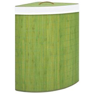 Cesto de canto para roupa suja 60 L bambu verde - PORTES GRÁTIS