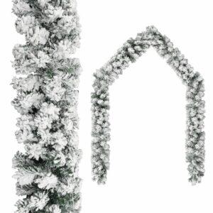 Grinalda de Natal com neve 10 m PVC verde - PORTES GRÁTIS