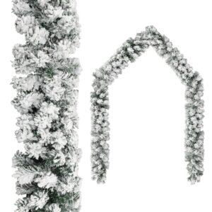 Grinalda de Natal com neve 20 m PVC verde - PORTES GRÁTIS