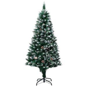 Árvore de Natal artificial com pinhas e neve branca 150 cm - PORTES GRÁTIS