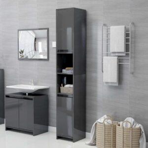 Armário casa de banho 30x30x183,5 cm contrapl. cinza brilhante - PORTES GRÁTIS