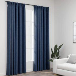 Cortinas opacas aspeto linho com ganchos 2 pcs 140x225 cm azul - PORTES GRÁTIS