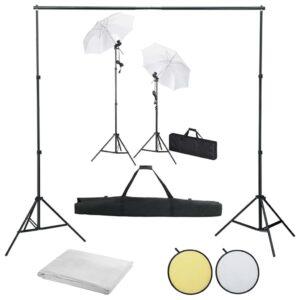 Kit estúdio de fotografia com fundos + iluminação e sombrinhas - PORTES GRÁTIS