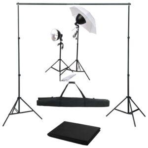 Kit de estúdio fotográfico com conjunto de iluminação e fundo - PORTES GRÁTIS