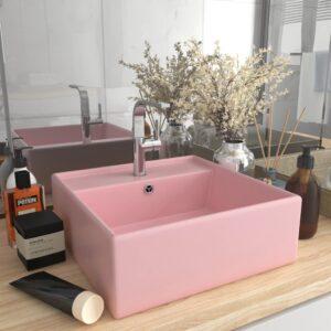 Lavatório luxuoso quadrado 41x41 cm cerâmica rosa mate - PORTES GRÁTIS