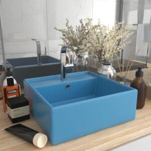 Lavatório luxuoso quadrado 41x41 cm cerâmica azul-claro mate - PORTES GRÁTIS