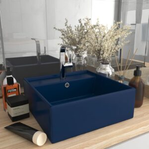 Lavatório luxuoso quadrado 41x41 cm cerâmica azul-escuro mate - PORTES GRÁTIS