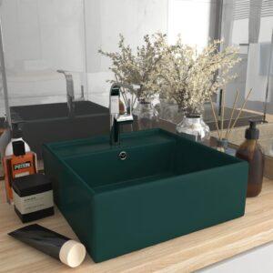 Lavatório luxuoso quadrado 41x41 cm cerâmica verde-escuro mate - PORTES GRÁTIS